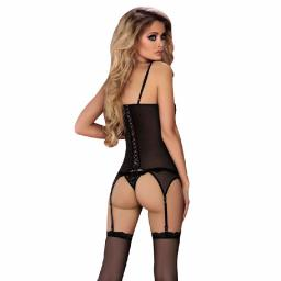 Womens Sexy Black Lace Basque & Thong