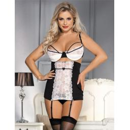 Black & White High Waist Suspender Belt, Thong & Bra