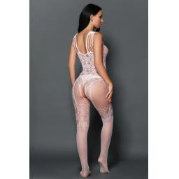 Sexy Strappy White Floral Open Crotch Body Stocking