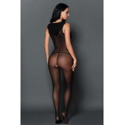 Black Nylon Hooded Crotchless Bodystocking