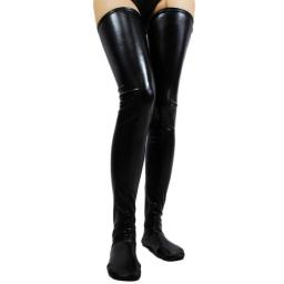 Black Or Red Pvc Wet Look Vinyl Stockings