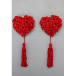 Red Floral Heart Shaped Nipple covers