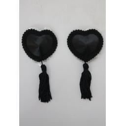 Black Heart Shaped Nipple Tassels