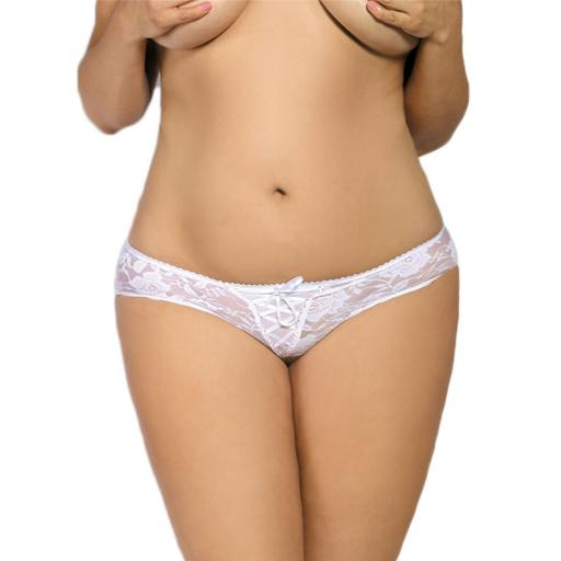 Sexy Lace Crotchless Knickers - White, Black Blue Or Pink, Sizes 8-26