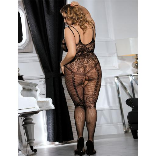 Plus Size Fishnet And Lace Bodystocking