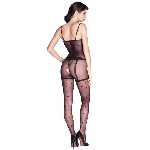 Sexy Black Polka Dot Crotchless Bodystocking
