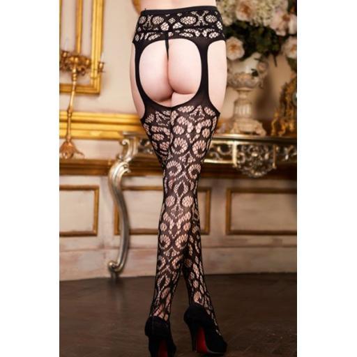 Black Crochet Patterned Suspender Tights