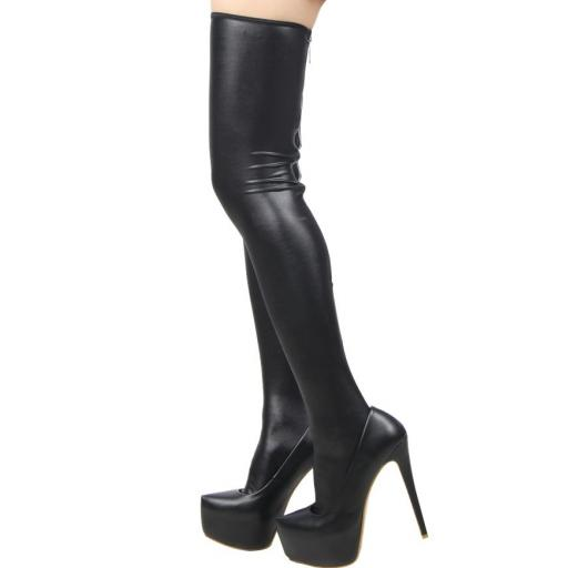 Black Sexy PVC Wet Look Zip Stockings