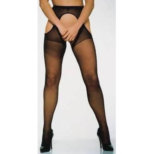 10 Pairs Of Black Crotchless Suspender Tights