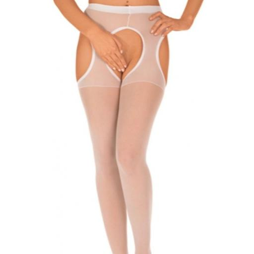 Crotchless White Suspender Tights