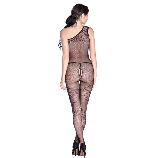 Black Fishnet Crotchless Floral Bodystocking