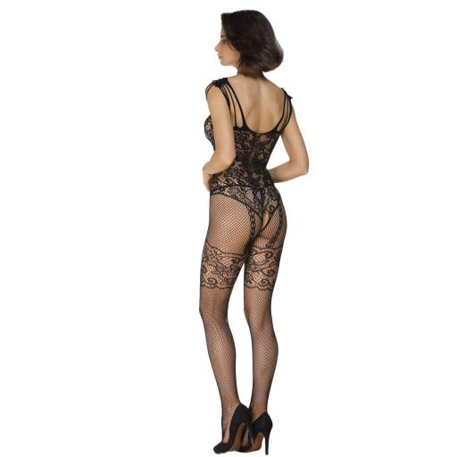 Sexy Strappy Black Floral Open Crotch Body Stocking