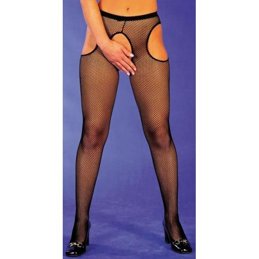 Plus Size Ladies Black Fishnet Suspender Tights XL