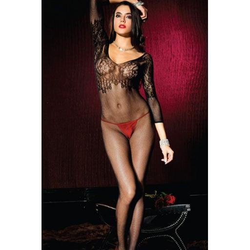 Open Crotch Women's Lace Trim Bodystocking