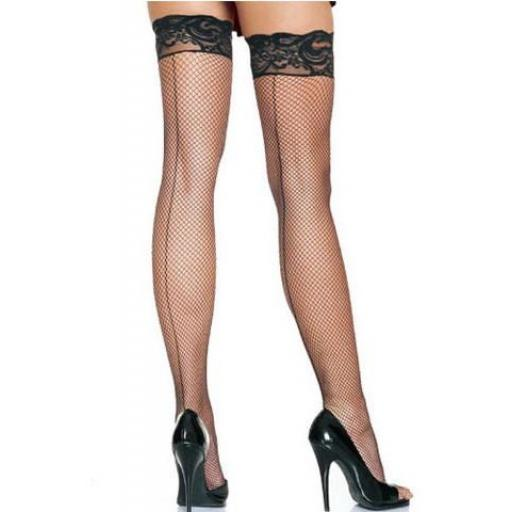Lace Top Seamed Fishnet Stockings