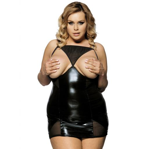 Black Open Cup Plus Size Dress