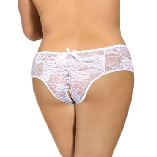 High Rise Crotchless Lace Knickers - Black, Pink or White