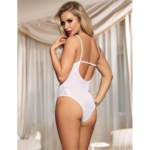 Sexy White Or Black Lace Floral Teddy Plus Size Available