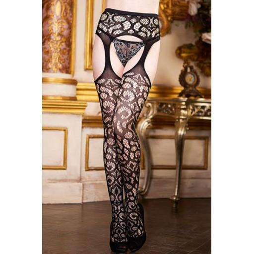 Black Crochet Patterned Suspender Tights