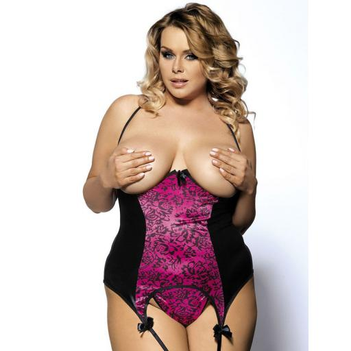 Seductive Pink Cupless Basque & Thong