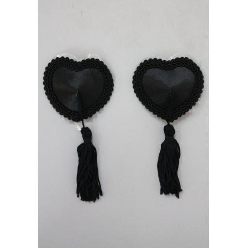Black Heart Shaped Nipple Tassels