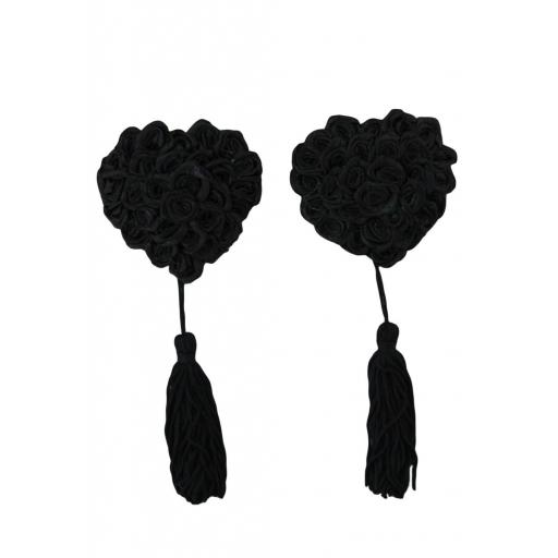 Black Floral Heart Shaped Nipple Covers