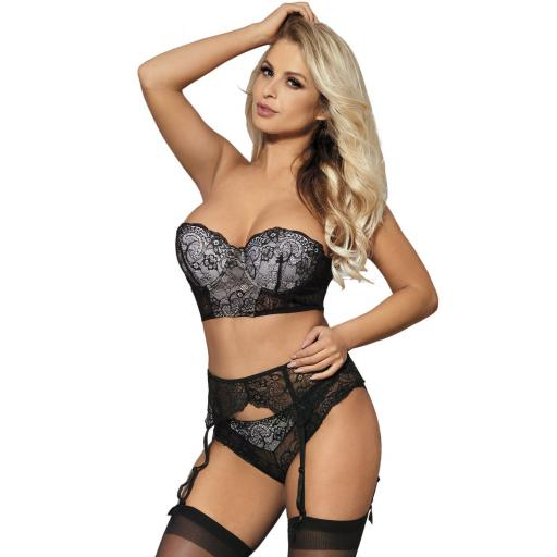 Sexy Black Floral Lace Bra Knickers & Suspender Belt