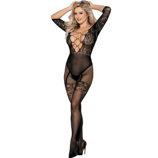 Sexy Fishnet Floral Black Bodystocking XL Available