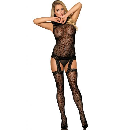 Sexy Black Crotchless Bodystocking Size 8 10 12 14