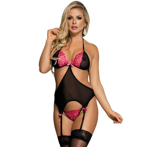 Pink & Black Cutout Lace Basque