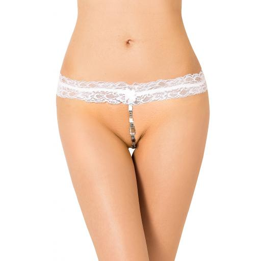 White Diamond Effect Jewel Thong