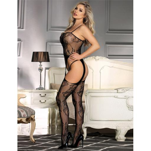 Sexy Black Floral Bodystocking