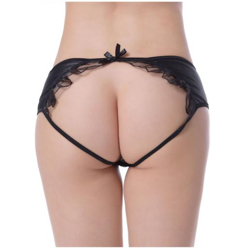 Sexy Black Wet Look Open Back Knickers
