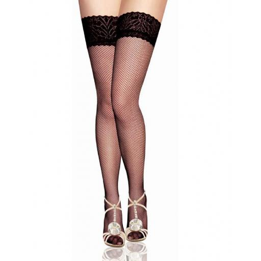 Plus Size Black Thigh High Fishnet Lace Top Stockings