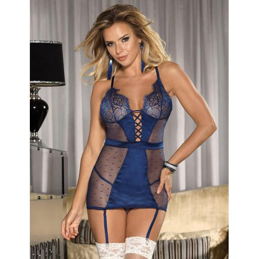Sexy Blue Chemise With Suspenders & Thong