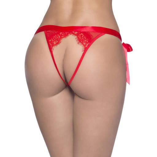 Sexy White, Red Or Black Thong With Open Back & Tie Sides