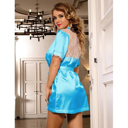 Sexy Black, Red or Blue Silky Satin Effect Robe With Lace Back