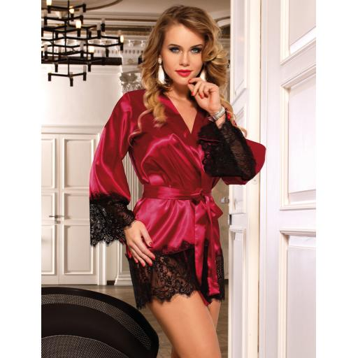 Sexy Red or Black Silky Robe Dressing Gown