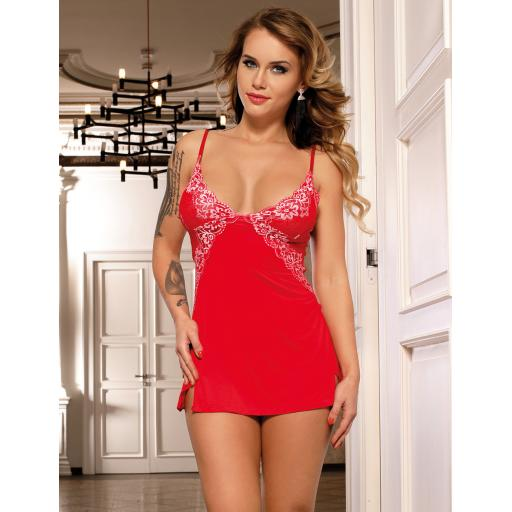 Sexy Red Floral Chemise