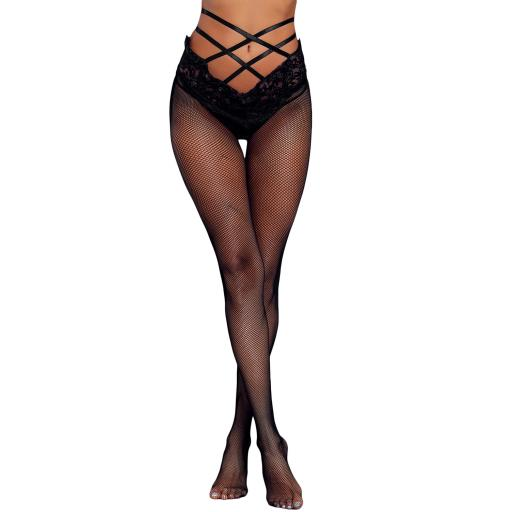 Sexy Black High Waist Strappy Fishnet Tights