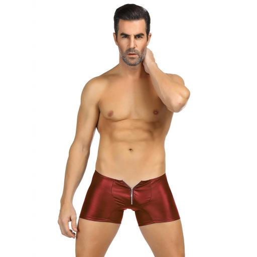 Red Black Mens Wet Look Zip Up Boxer Shorts