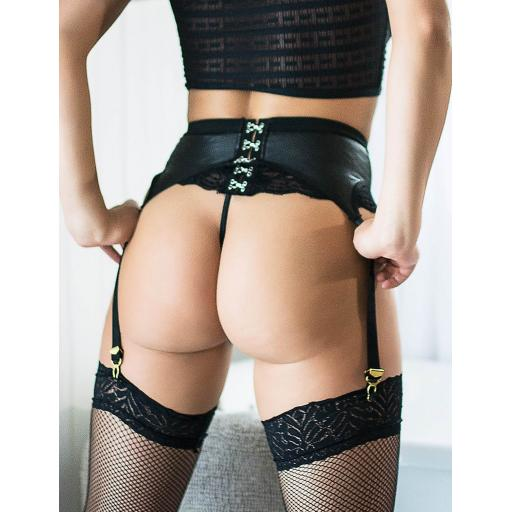 Sexy Black Wet Look & Lace Suspender Belt &Thong, Sizes 10-20