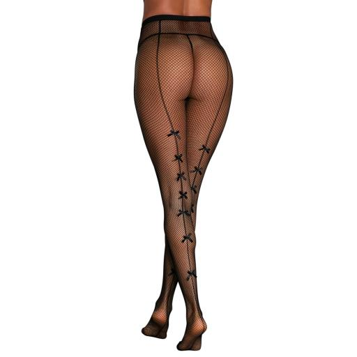 High Waist Black Fishnet Tights With Bow Seam