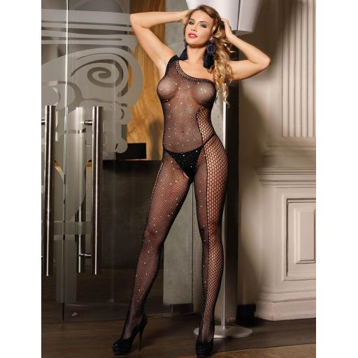 Sexy Black Fishnet Sparkly Bodystocking, Sizes 8-22