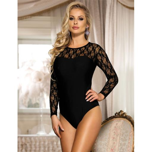 Sexy Black Long Sleeved Bodysuit With Floral Mesh Shoulder, Sizes 10-22