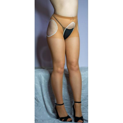 Crotchless Tan Suspender Tights Plus Size Available
