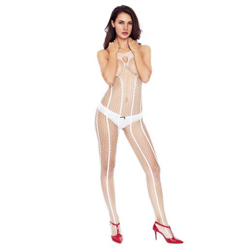 Sexy White Open Cup Crotchless Bodystocking