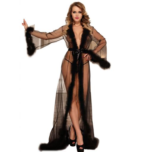 Sheer Black, Red, White or Pink See Through Dressing Gown