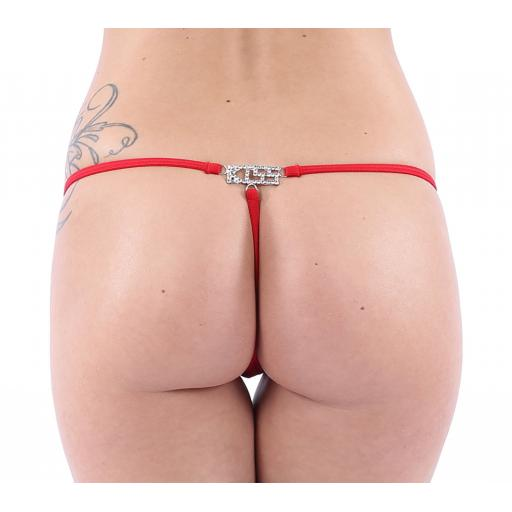 Sexy Red or Black Diamond Effect G String With Kiss Motif